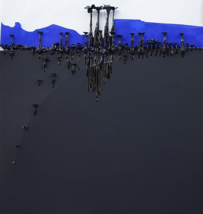 Horizon, 2016 - vinyl and mixed media, 154 x 150 cm